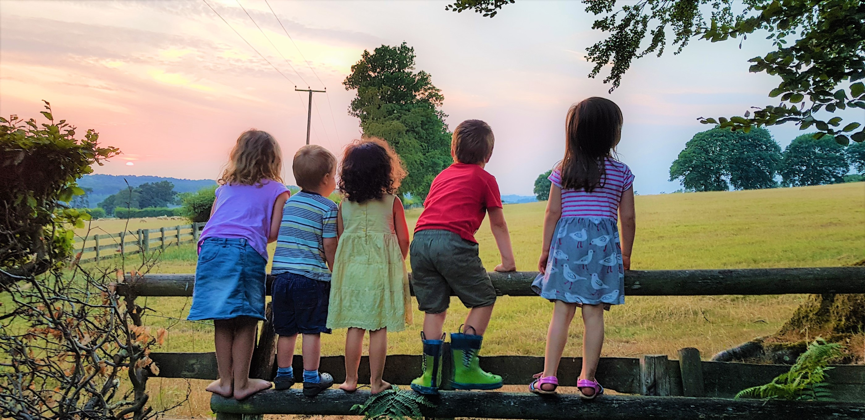 Children standing on a fence at sunset